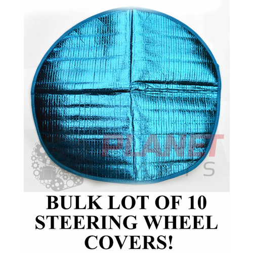 BULK LOT of 10 Steering Wheel Sun Shade Covers BLUE NEW